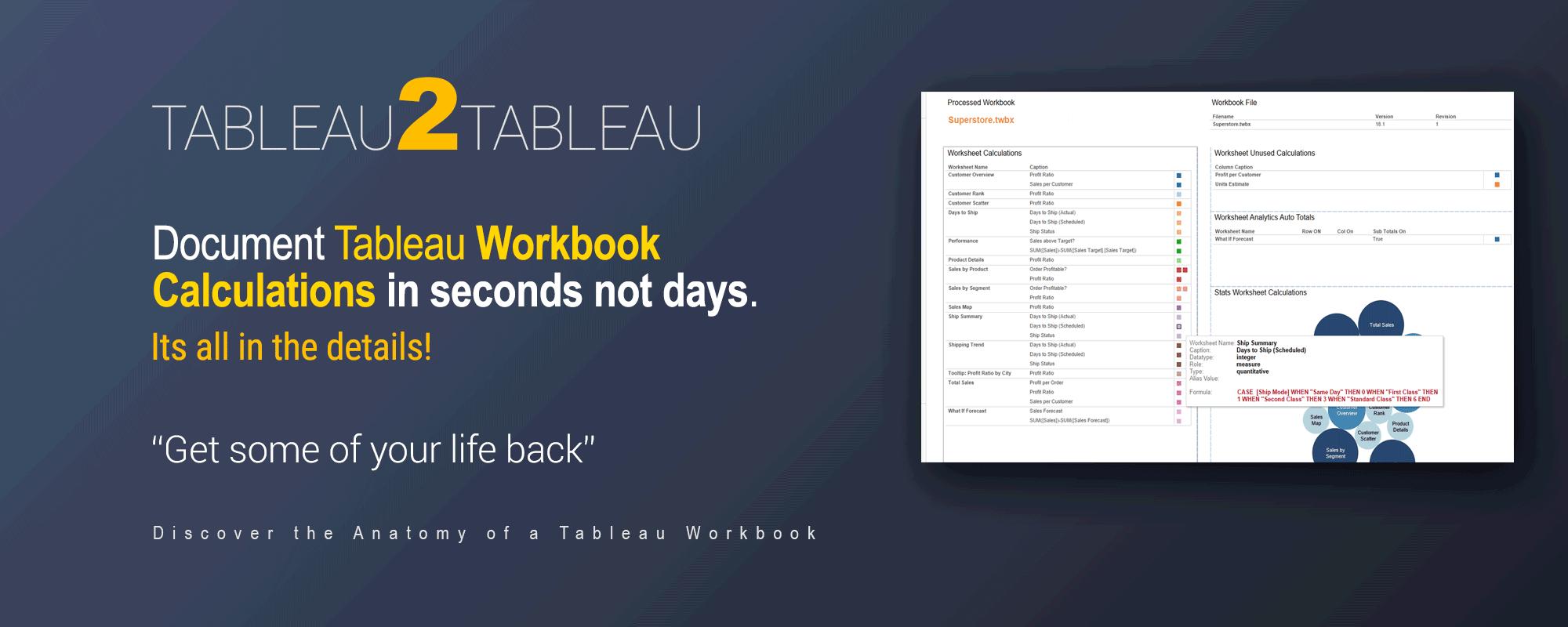 Document Tableau workbook Calculations |Tableau2Tableau | 4ED